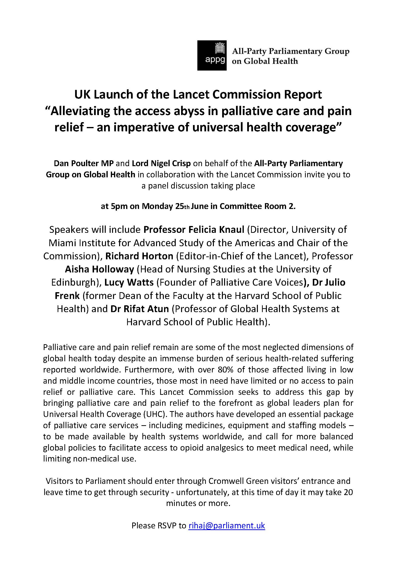 "Invitation: UK Launch of the Lancet Commission Report ""Alleviating the access abyss in palliative care and pain relief – an imperative of universal health coverage"""