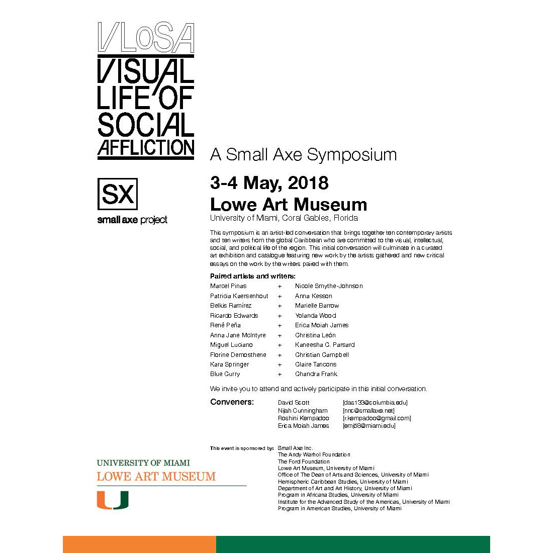 Visual Life of Social Affliction in the Caribbean: Artist Symposium Flyer